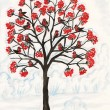 Stock Photo: Bullfinches on ash-tree, painting