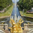 Stock Photo: Fountains in Peterhof, Russia