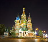 Moscow, St. Basil's cathedral at night — Stock Photo