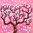 Cherry tree in blossom on pink background — Stock Photo
