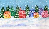 多色の家、絵画と冬の風景 — ストック写真