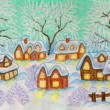 Winter village, painting — Stock Photo