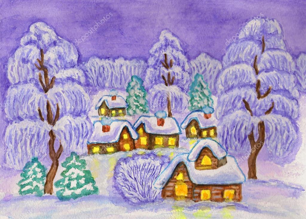 手绘插图, 水彩画和白色压克力-冬季景观在紫色的