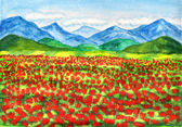 Red poppies meadow, painting — Stock Photo
