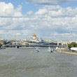 Moscow, cathedral of Jesus Christ Saviour and Krymskiy bridge — Stock Photo
