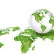 Globe on the green grass map — Stock Photo