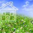 New house imagination on green meadow — Stock Photo
