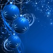 Best elegant Christmas background with blue baubles — Stok fotoğraf