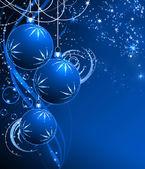 Zarif noel arka plan mavi baubles ile en iyi — Stok fotoğraf