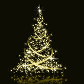 Christmas golden tree background — Stock Photo