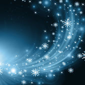 Snowflakes, stars and waves blue descending background — Stock Photo