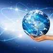 Globe on her hands, South and North America — Stock Photo #48421181