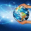 Globe on her hands, South and North America — Stock Photo #48421365