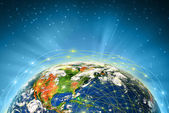 Planet earth and light transmission network — Stock Photo