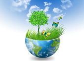 Environmental Concept. Globe — Stock Photo