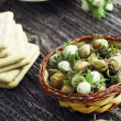 Bunch of green hazelnuts with biscuits and truffles — Stock Photo #29507265