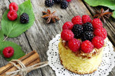 Sweet cake with forest fruits — Stock Photo