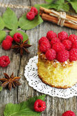 Home made sweet cake with raspberry — Stock Photo