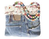 蓝色牛仔裤女式提包 — 图库照片
