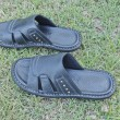 A pair of men black sandals — Foto Stock