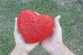 руки держит красное сердце пластиковые — Стоковое фото