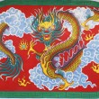 Chinese dragon at ceiling in Chinese temple — Stock Photo