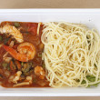 Spaghetti with king prawns — Stock Photo