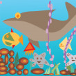Vector illustration undersea with fishes — Stock Vector