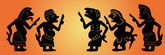 Shadow Puppets Set — Vector de stock