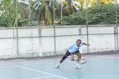 Play tennis outdoor  — Stock Photo