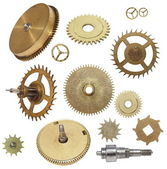 Clock gears mechanism isolated on white background — Stok fotoğraf