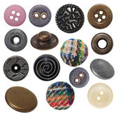Collection sewing button and metal jeans buttons — Stock Photo