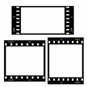 Set blank film strip isolated on white background — Stock Photo