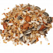Pile of seed mixture for Big Parakeets, isolated on white - Stock Photo