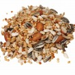 Pile of seed mixture for Big Parakeets, isolated on white - Photo