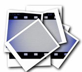 Photo with blank film strip frame isolated on white background — Stock Photo
