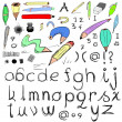 Hand drawn letters and doodle pens — Stock Photo #20014197