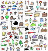 Big set color hand drawn objects — Stock Photo