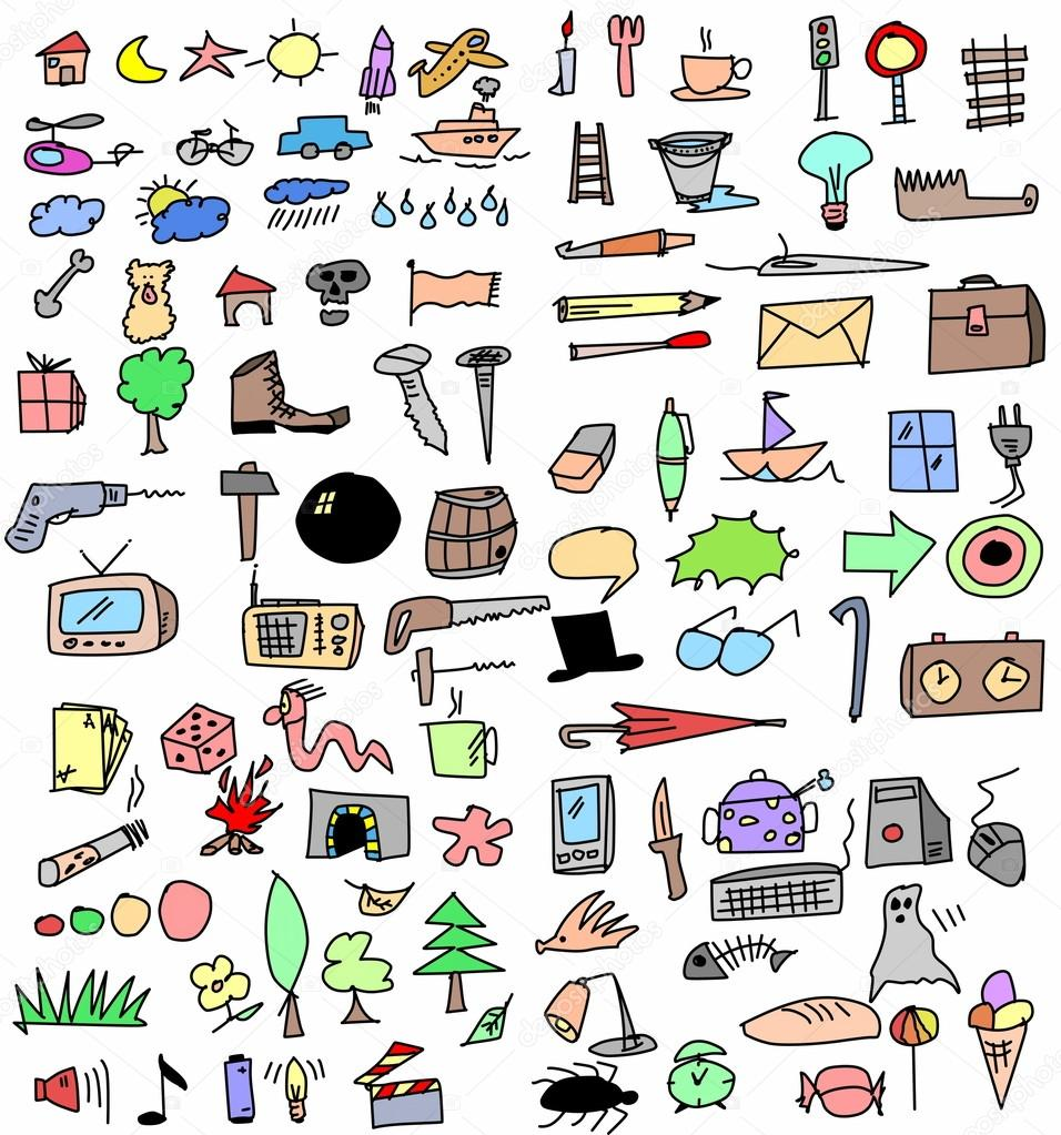 Objetos dibujados a mano color set grande foto stock dusan964 20096817 - Objet les plus rechercher ...