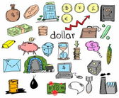Hand drawn finance, banking, business, doodle — Stock Photo