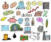 Hand gezeichneten finanz- und bankwesen, geschäftswelt, doodle — Stockfoto