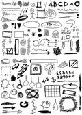 Set hand drawn, doodle, numbers, shapes, circle, square, line — Stock Photo