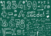 School Doodle numbers and mathematical symbols — Stock Photo