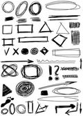 Doodle, Set hand drawn shapes, circle, square, triangle — Stock Photo