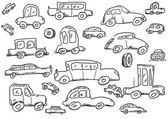 Cars doodle icons set — Stock Photo