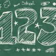 School Doodle numbers background and texture — Stock Photo