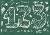 School Doodle numbers background and texture — Foto Stock