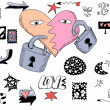 Love doodles, hand drawn design elements — Stock Photo