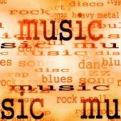 Afbeelding van muziek woord achtergrond, textuur — Stockfoto