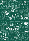 Weather hand drawn icons set, School Doodle — Stock Photo